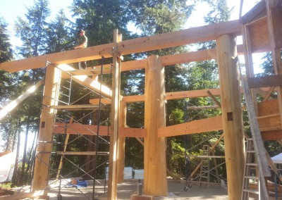 Off Grid Island Home_Raising Beams